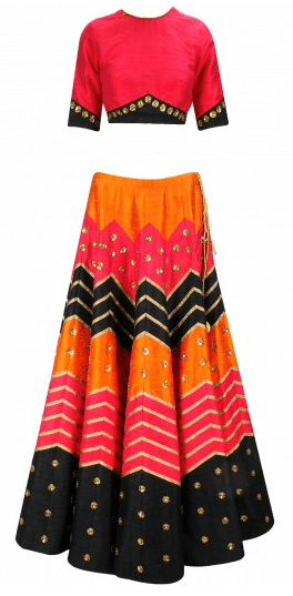 Red, black and orange gota and sequins embroidered lehenga