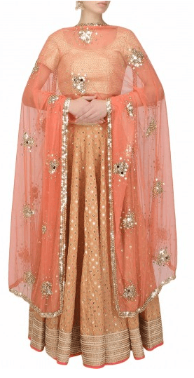 Orange sequins and gota patti lace embroidered lehenga and gold blouse