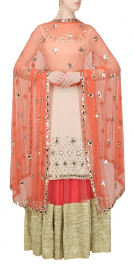 Off white mirror work and sequins embroidered kurta and coral gota patti lace lehenga