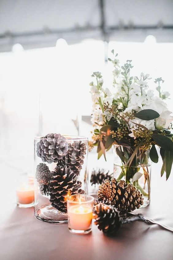 Pine Cone Winter Wedding Decor
