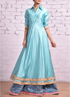 Blue Chanderi Indo Western Outfit