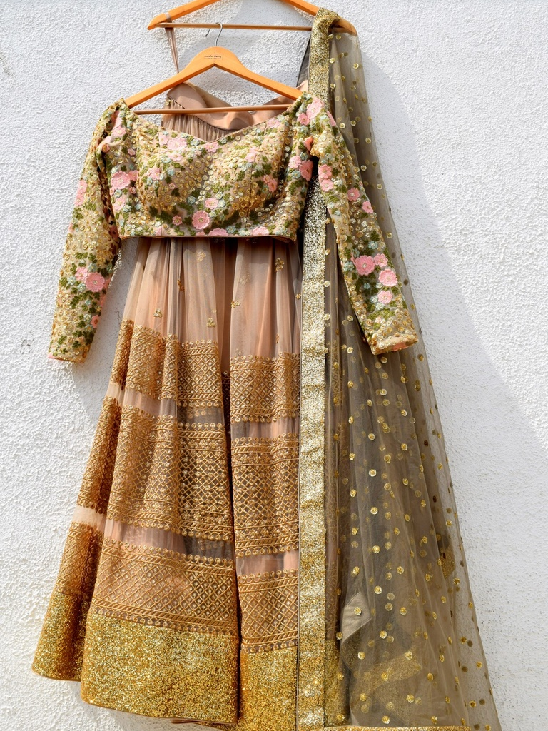 Brown Anisha Shetty Lehenga