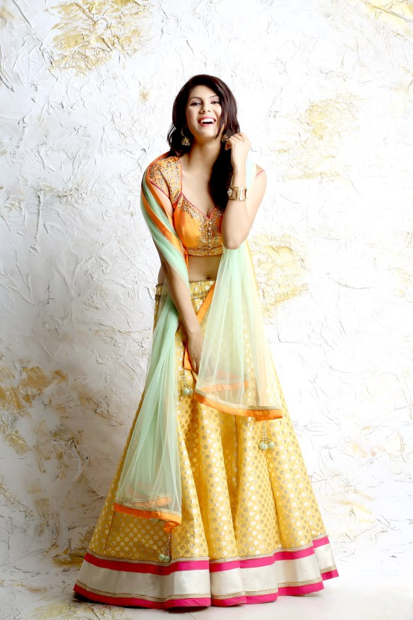 Bright Yellow Chanderi Lehenga