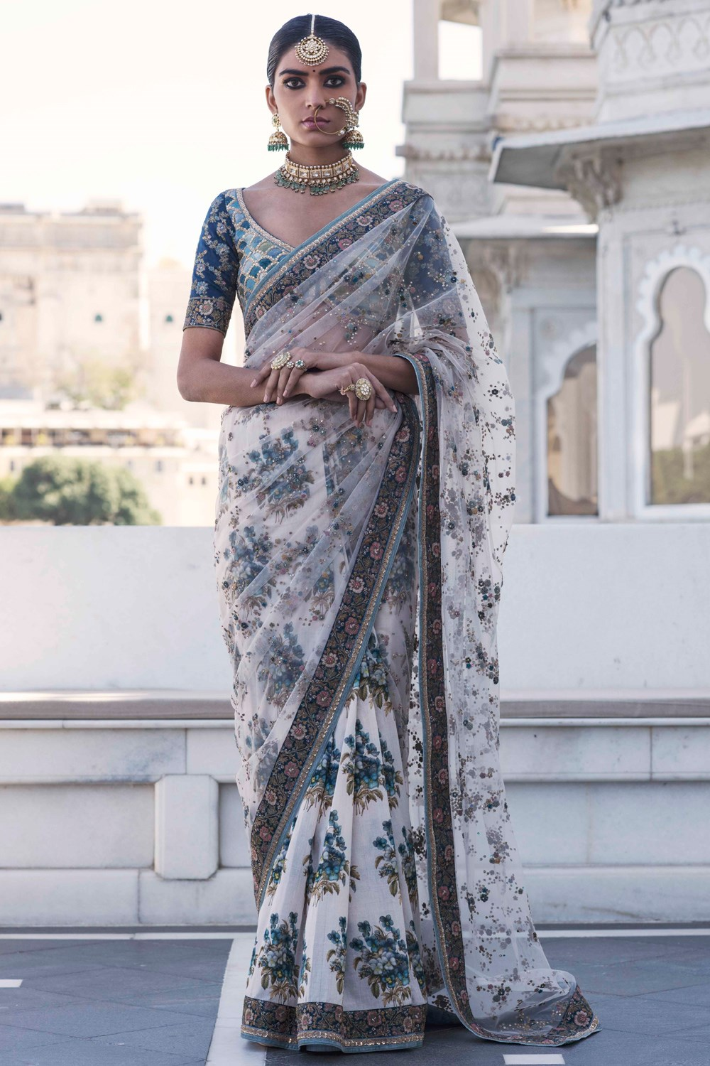 Ivory Embroidered Sabyasachi Saree