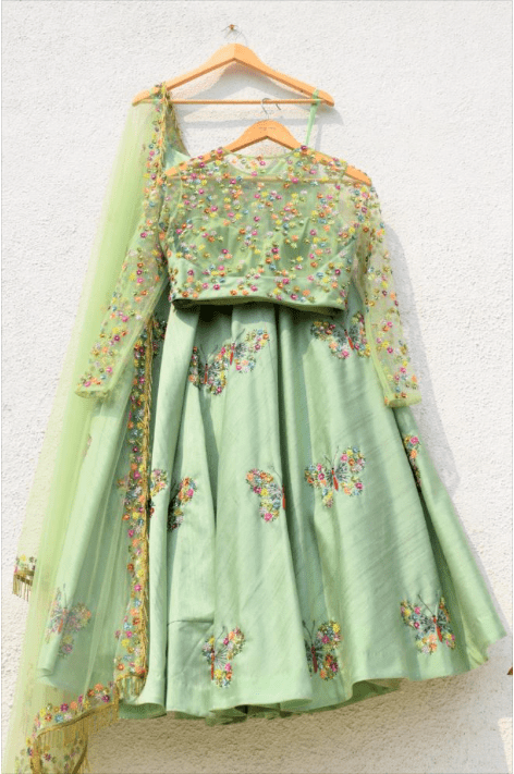 Green Raw Silk Lehenga