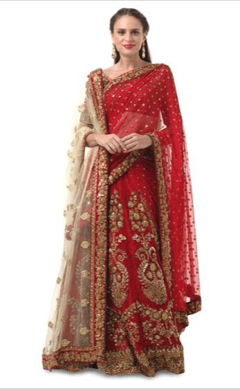 Deep Red Bridal Sabyasachi Lehenga
