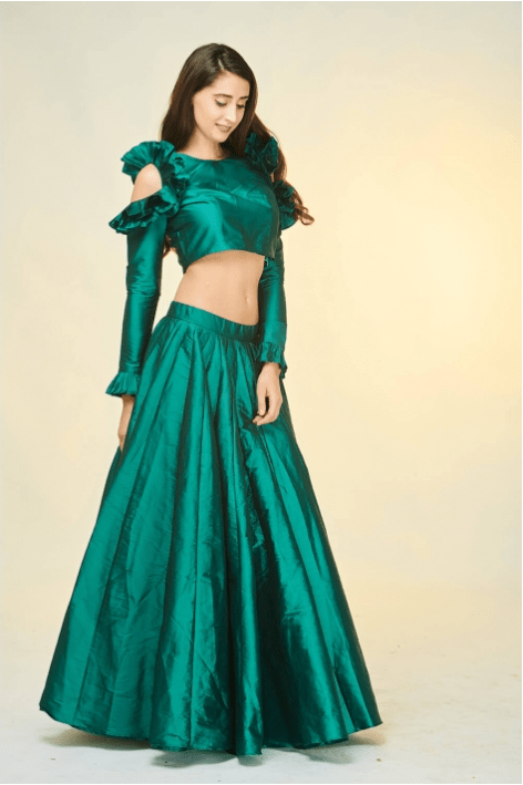 Bottle Green Crop Top Skirt