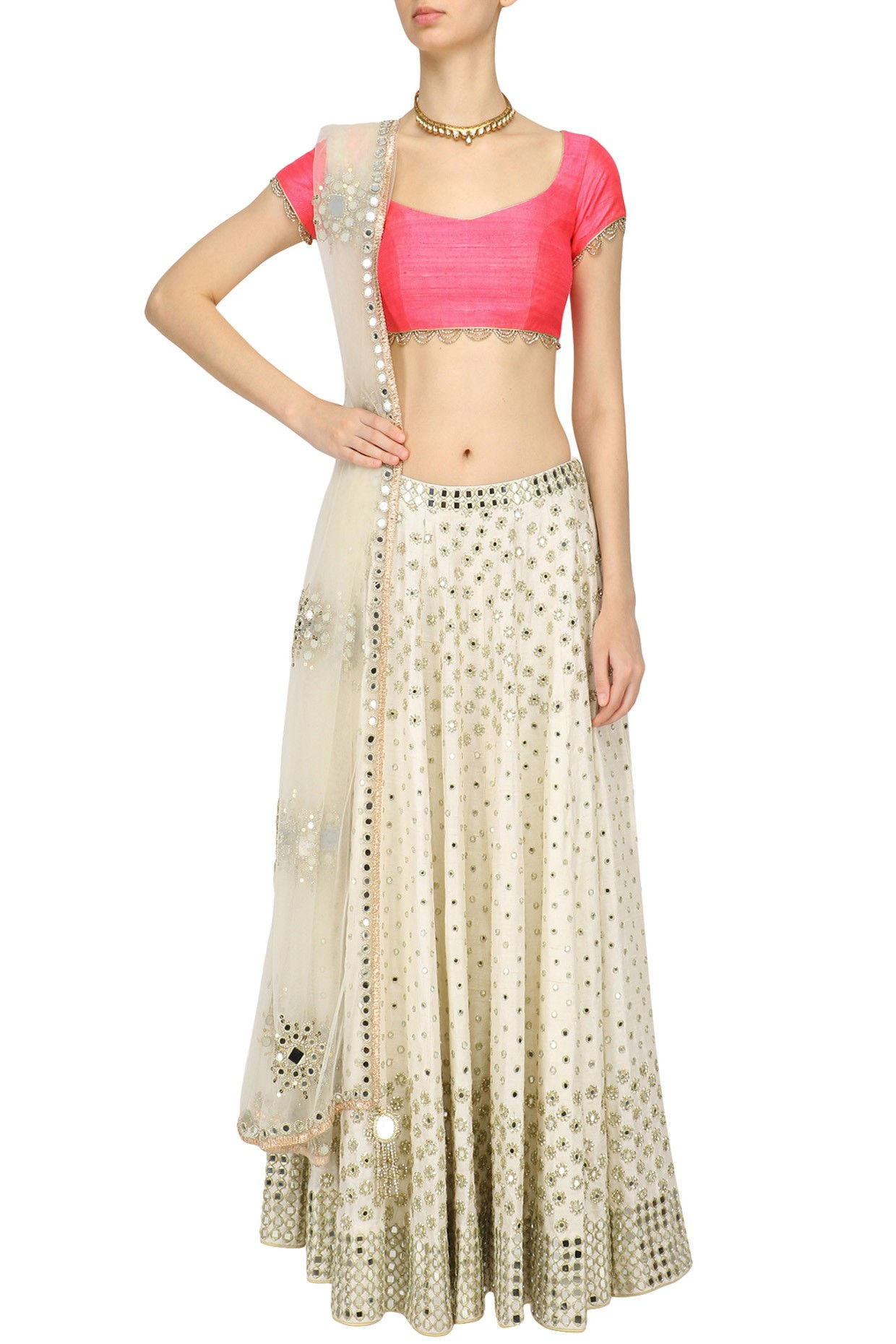 Off White Mirror Embroidered Lehenga