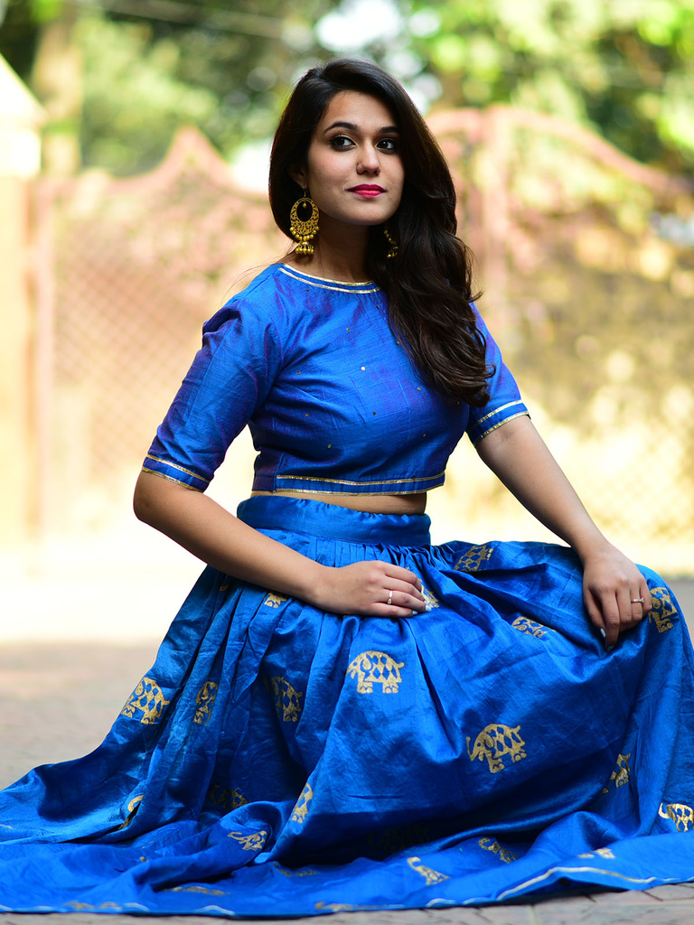 Blue Elephant Chanderi Lehenga Set