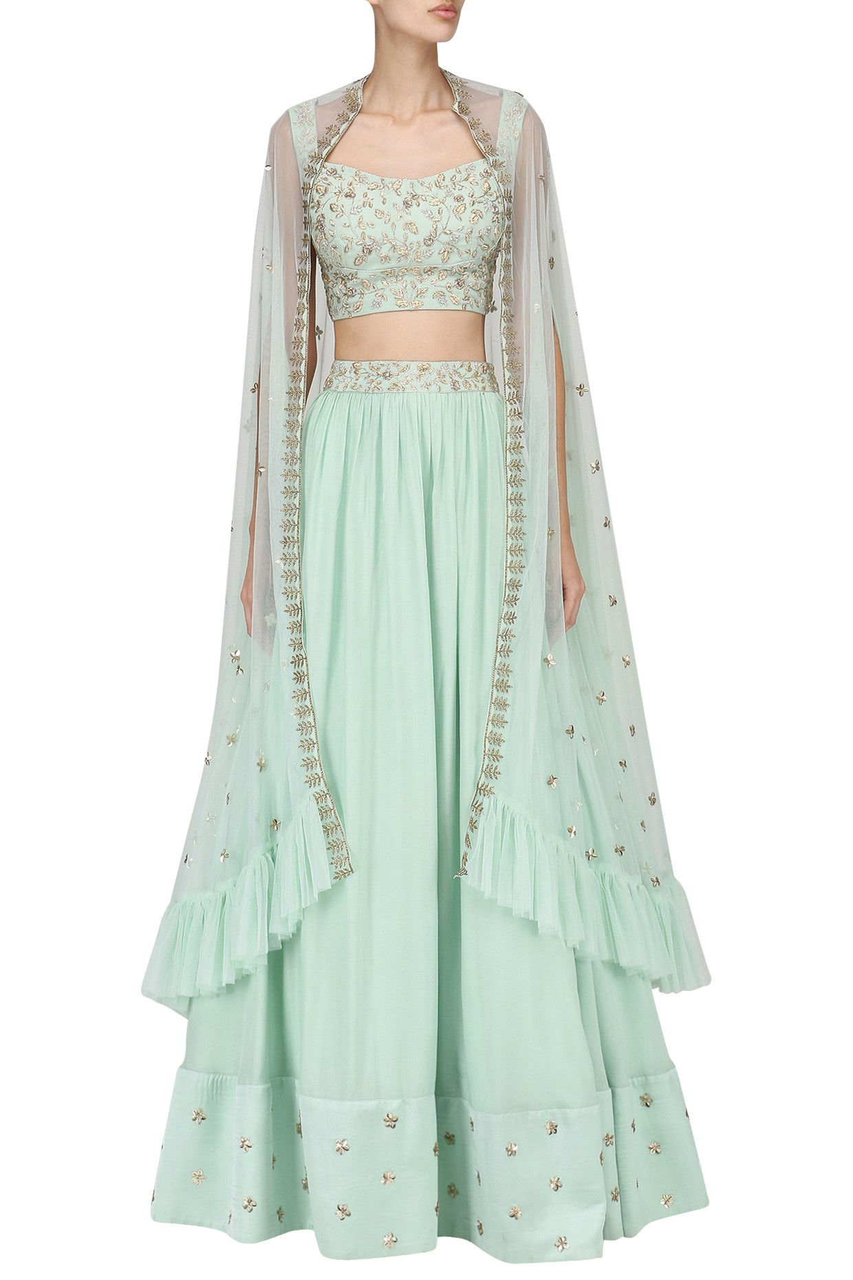 Pista Green Embroidered Lehenga
