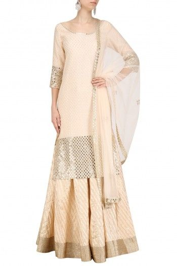 Blush Pink Embroidered Kurta Skirt