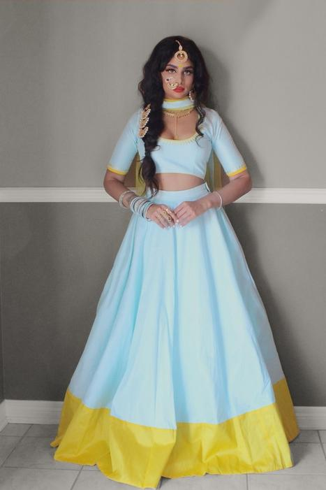 Mint Blue Yellow Lehenga