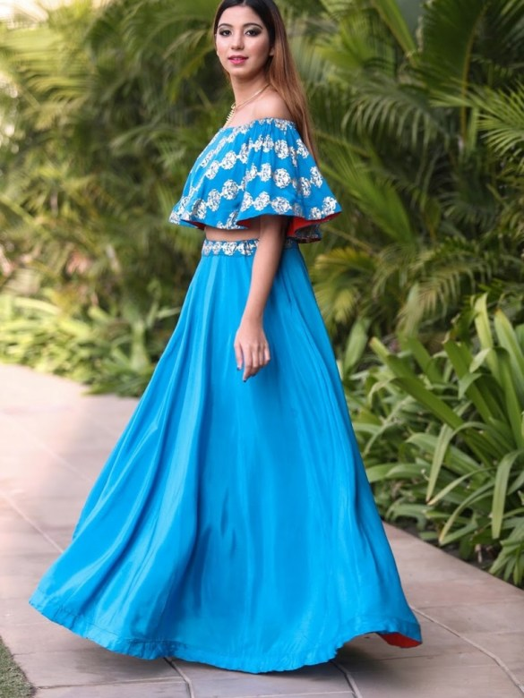 Blue Off Shoulder Lehenga Set