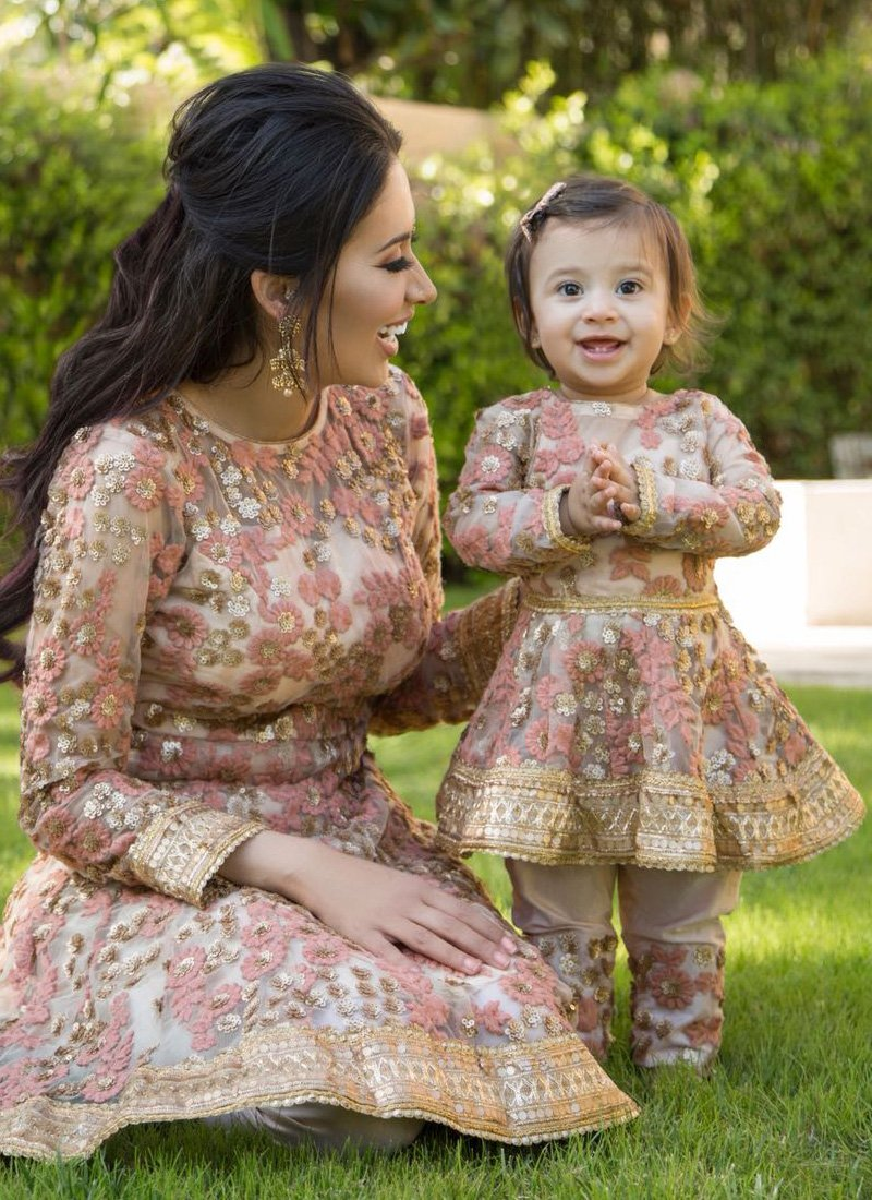 Kids Dusty Rose Sequins Embroidered Peplum Style Anarkali