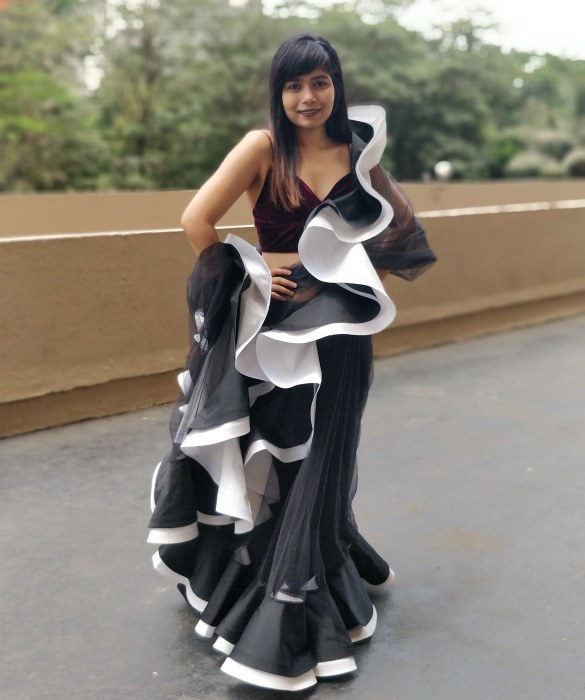 Black Tulle Ruffles Saree