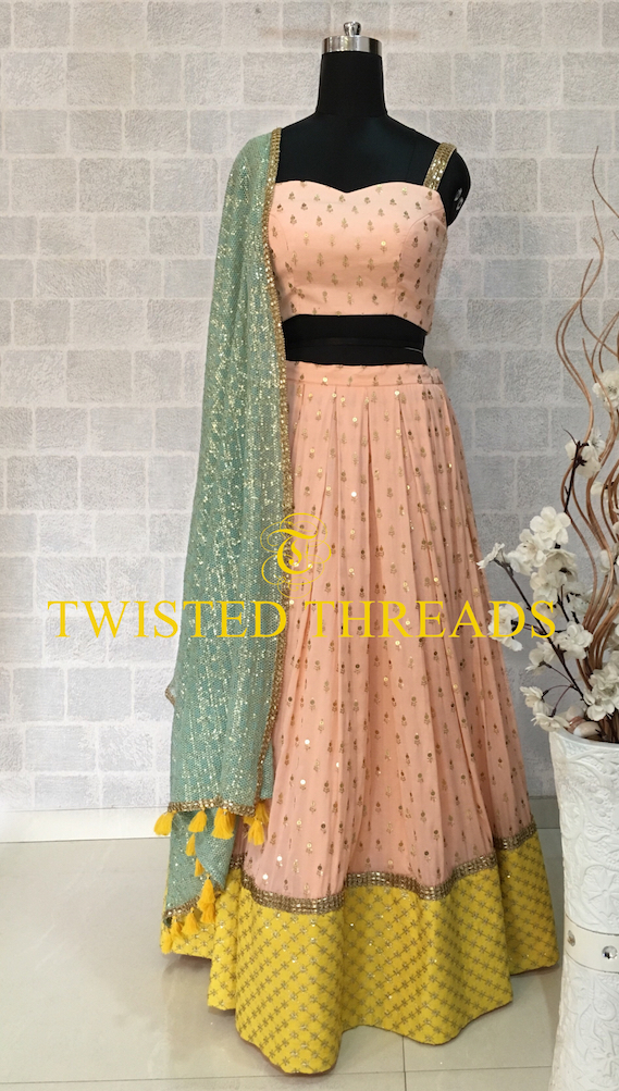 Peach Lehenga Twisted Threads