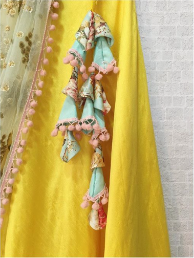 Yellow Off-Shoulder Lehenga Twisted Threads