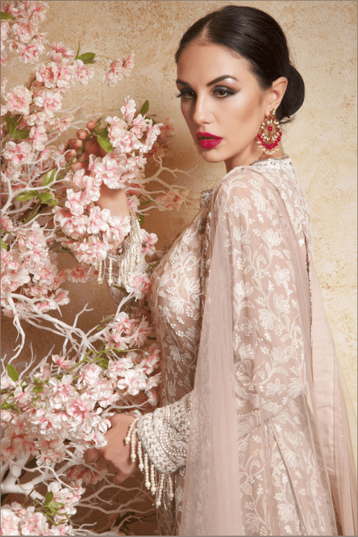 Georgette Chikankari Embroidered Jacket Lehenga