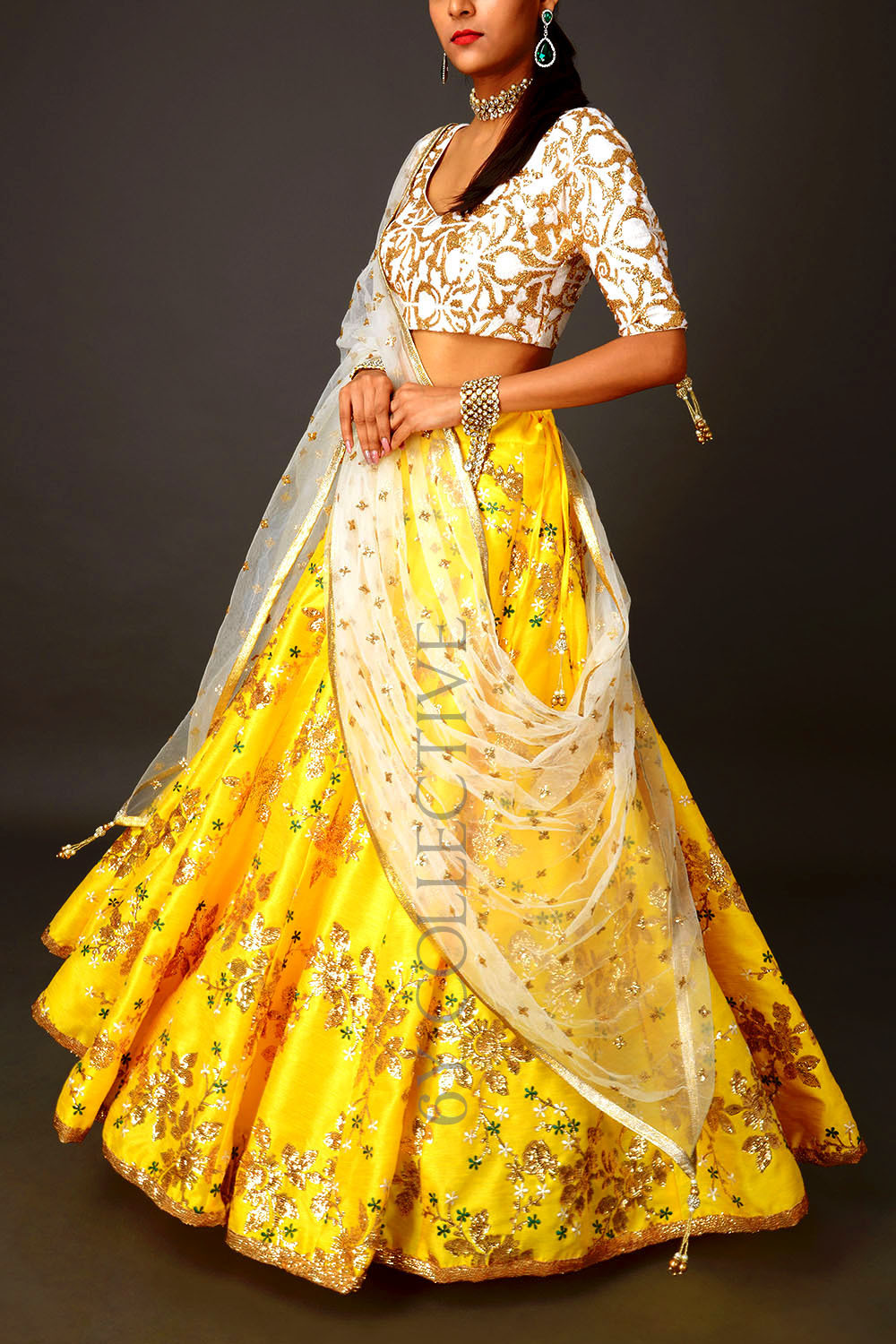 Yellow Sequins 6YCollective Lehenga