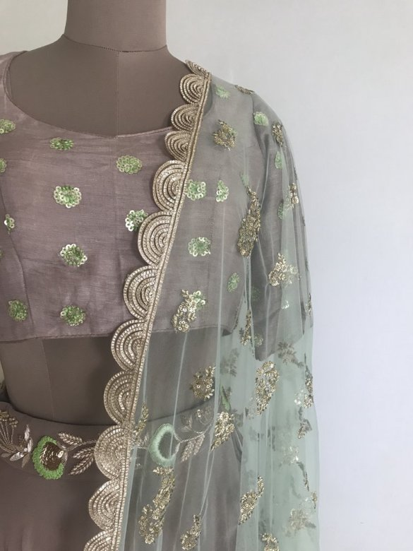 Pale Pink Frosted Garden Lehenga