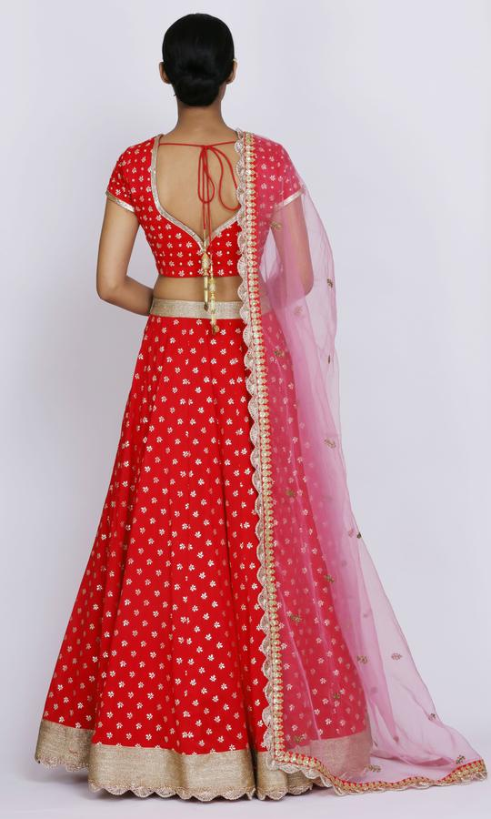 Tomato Red Bridal Lehenga