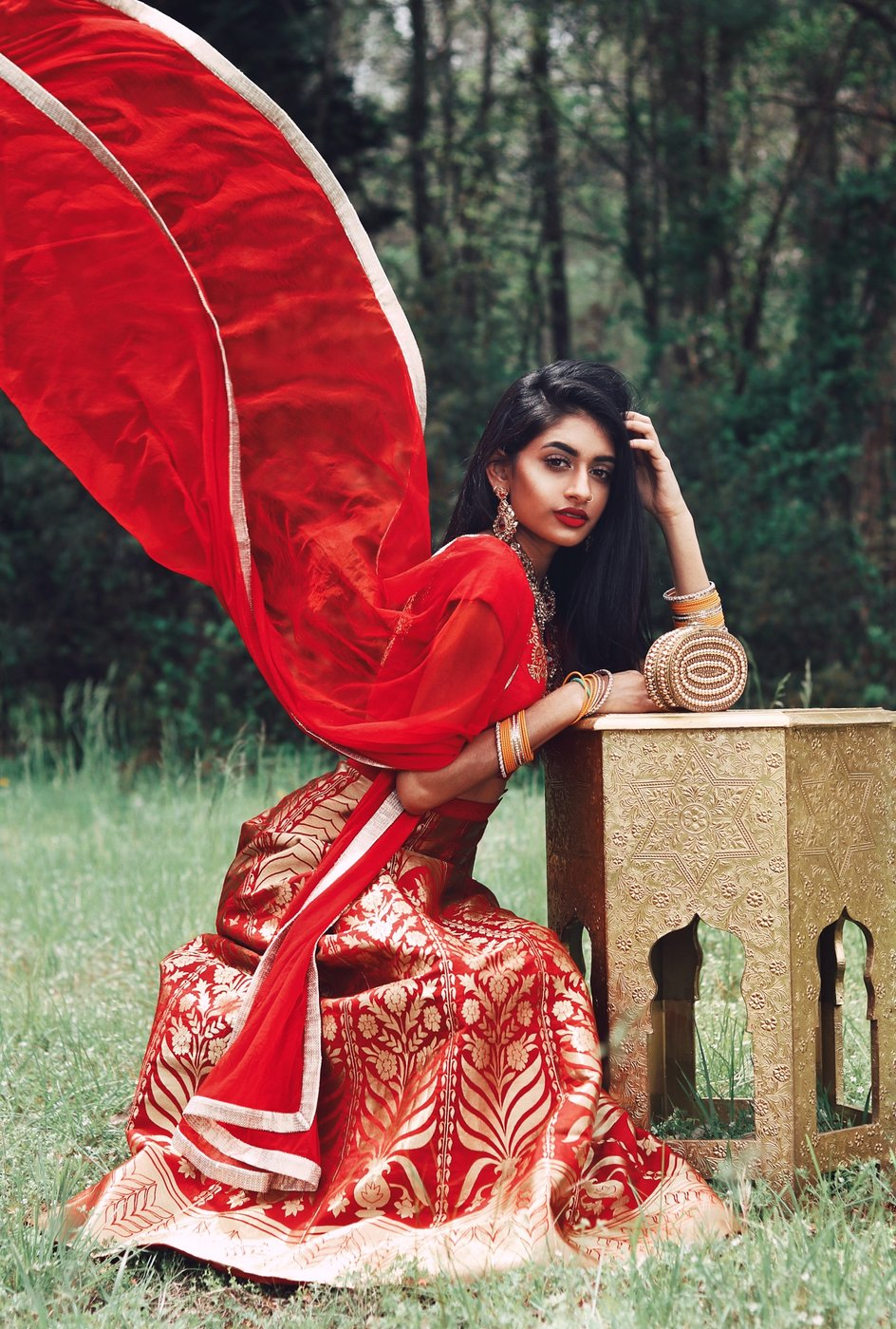 Red Brocade Budget Lehenga