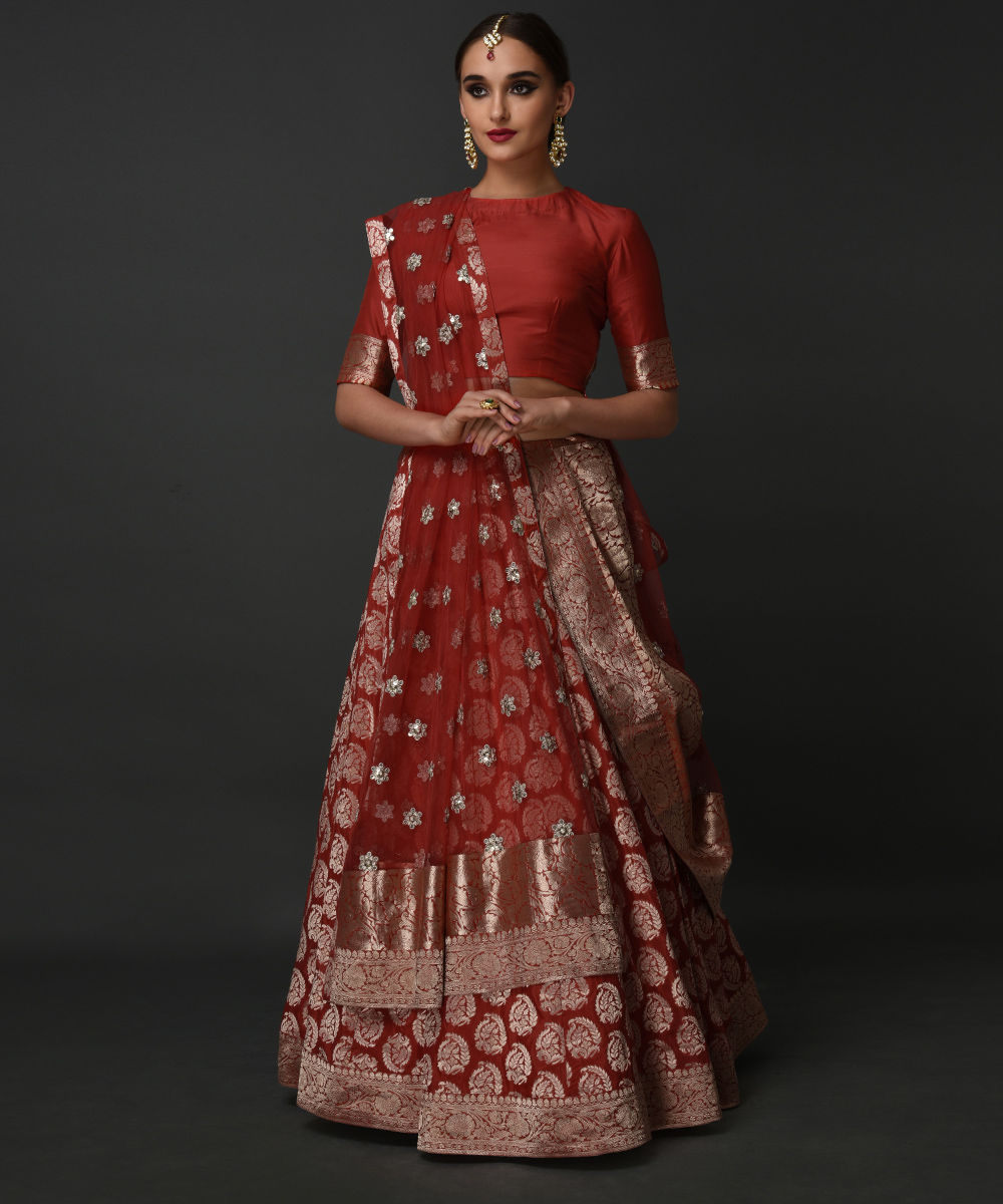 Poppy Red Banarasi Zari Pure Silk Lehenga