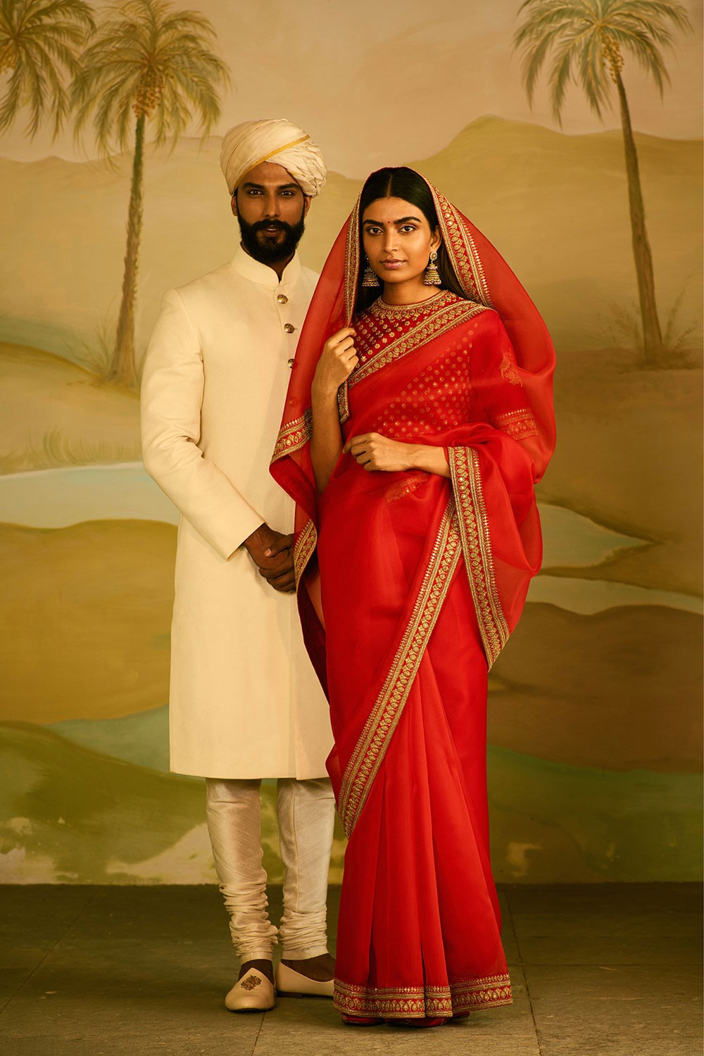 Red Organza Sabyasachi Saree