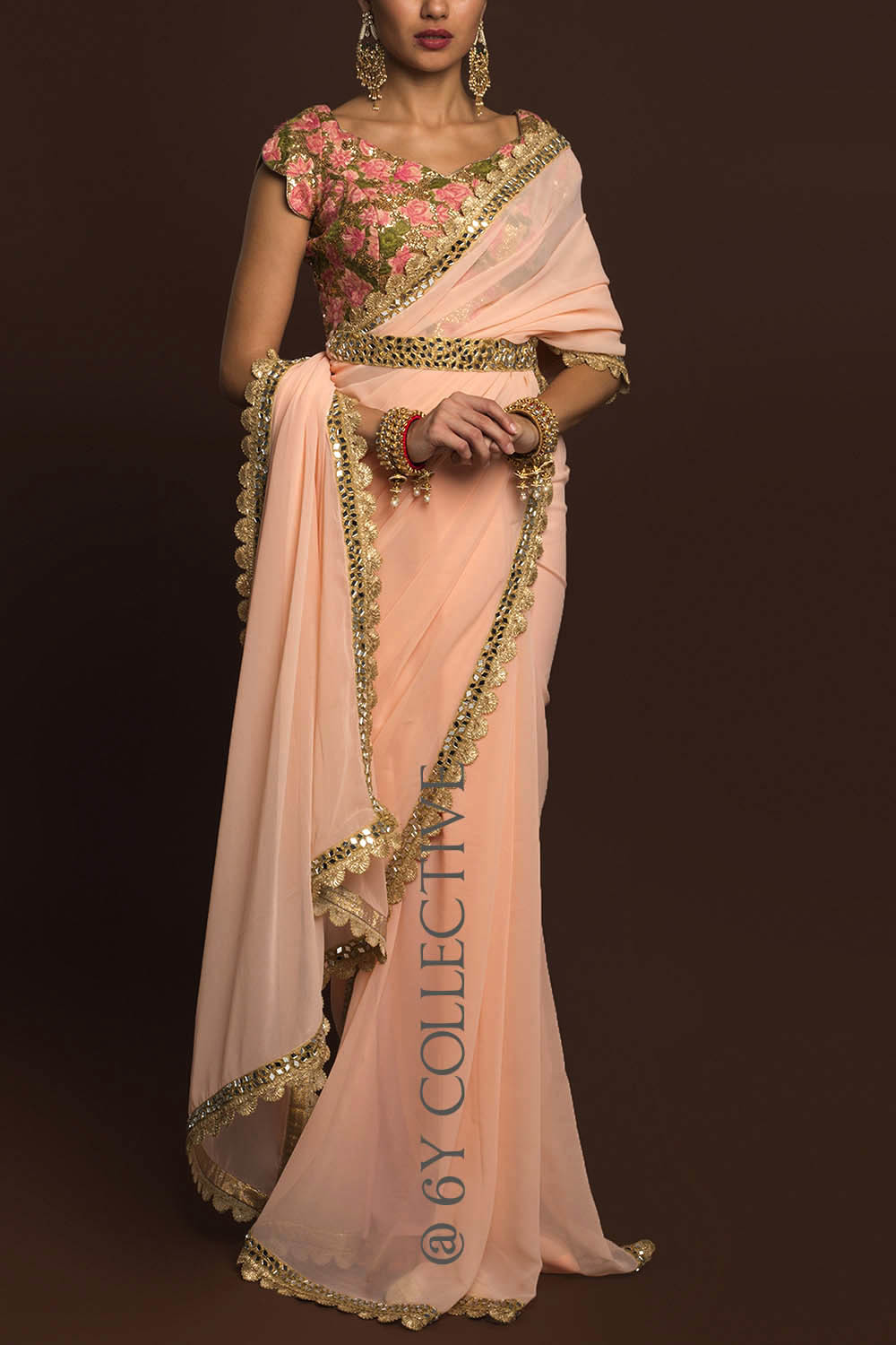 Powder Pink Georgette Sari