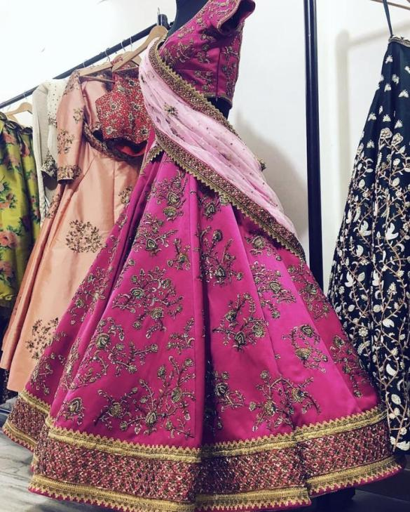 Pink Dutchess Satin Bridal Lehenga
