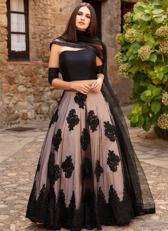 Black Muave Embroidered Lehenga