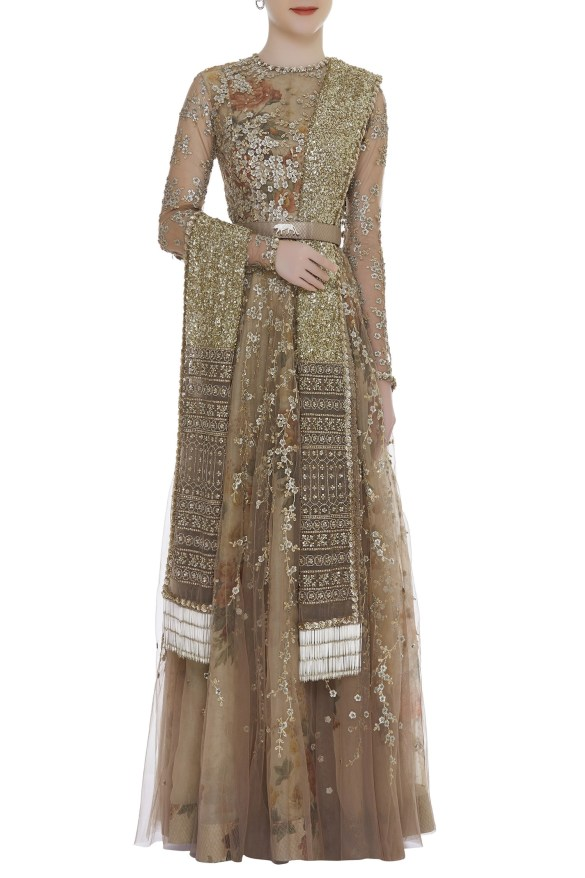 Sabyasachi Sequin Embroidered Floral Print Gown