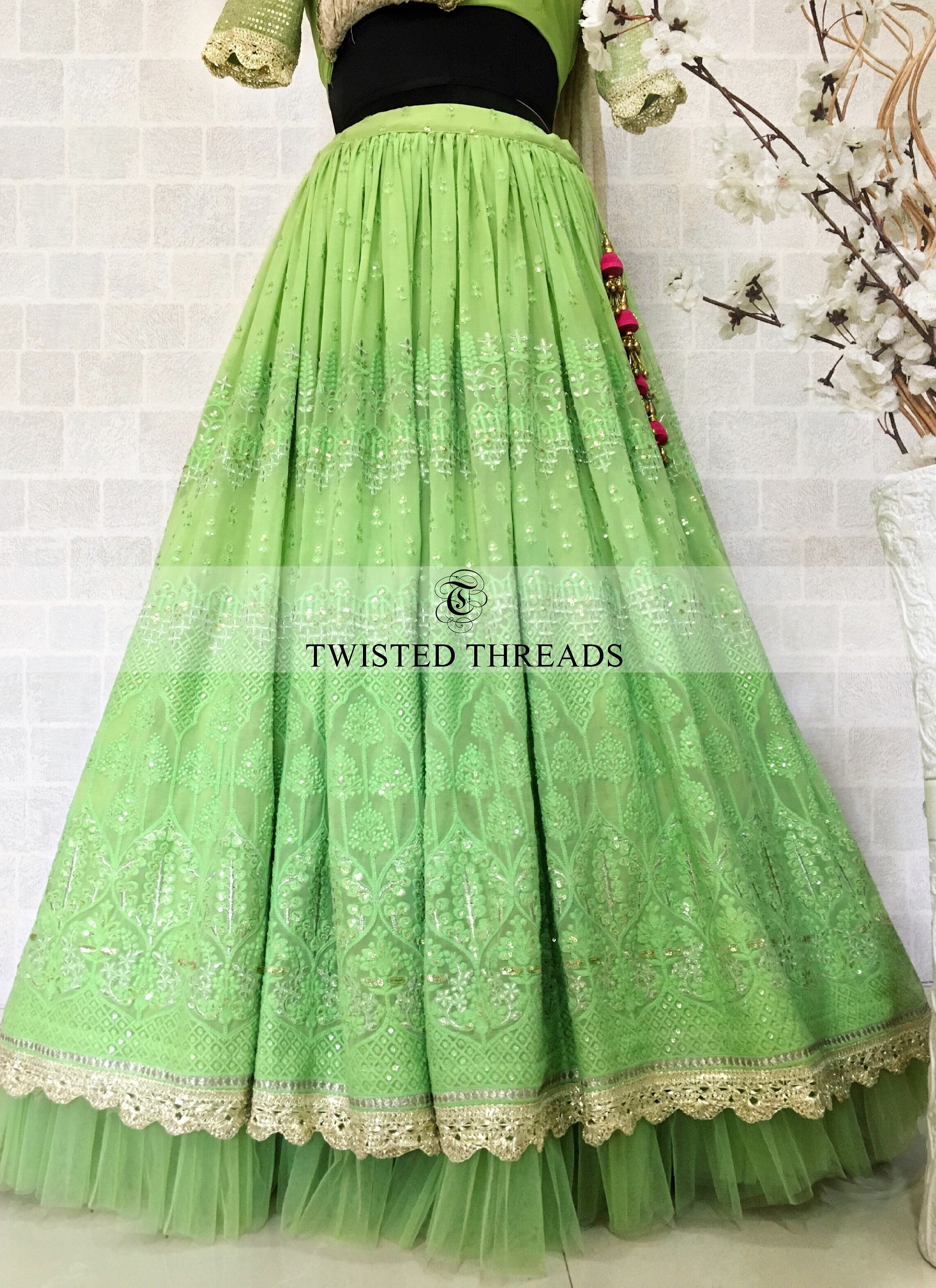 Green Georgette Twisted Threads Lehenga