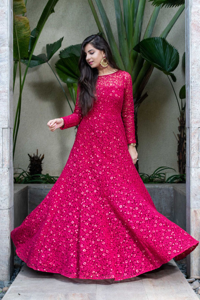 Deep Red Thread Work Gown