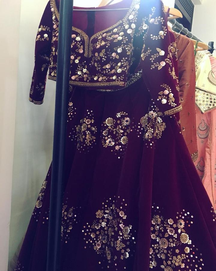 Deep Red Velvet Zardosi Bridal Lehenga