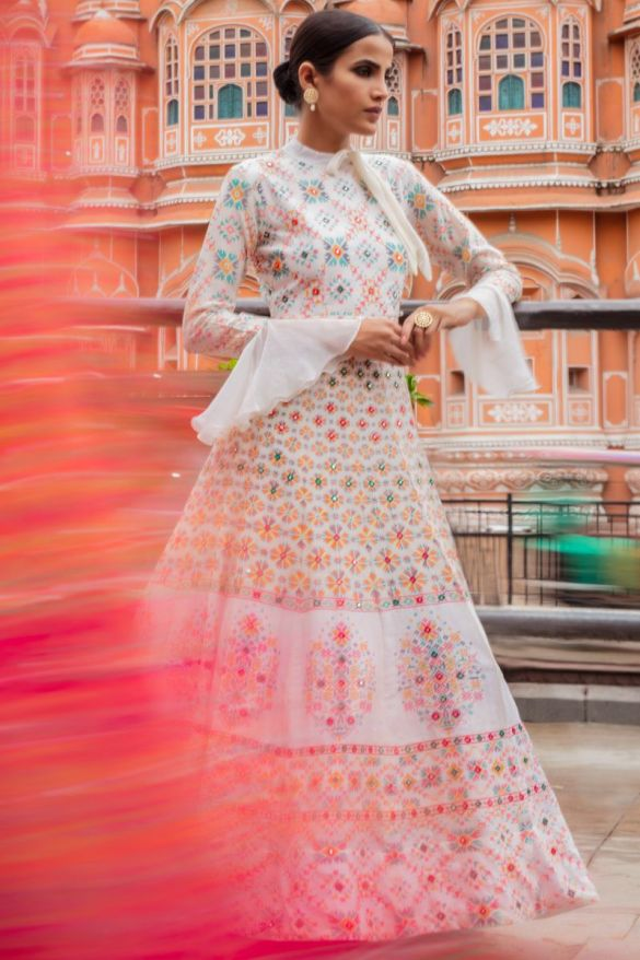White Chanderi Silk Anarkali Gown
