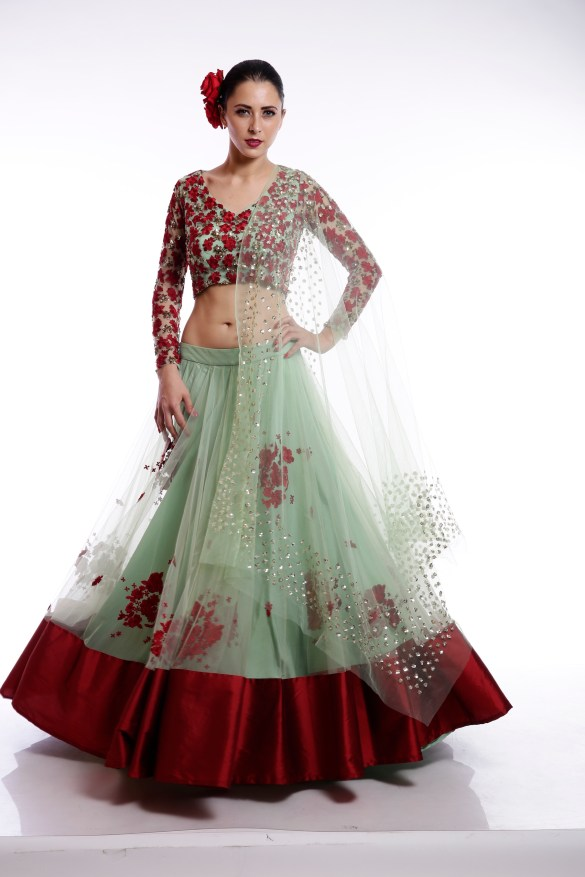 Mint Green Red Floral Thread Sequins Lehenga