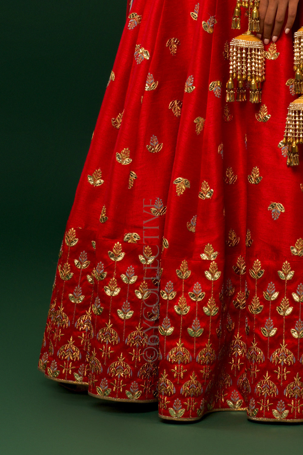 Red Blue Kalira Embroidery Lehenga