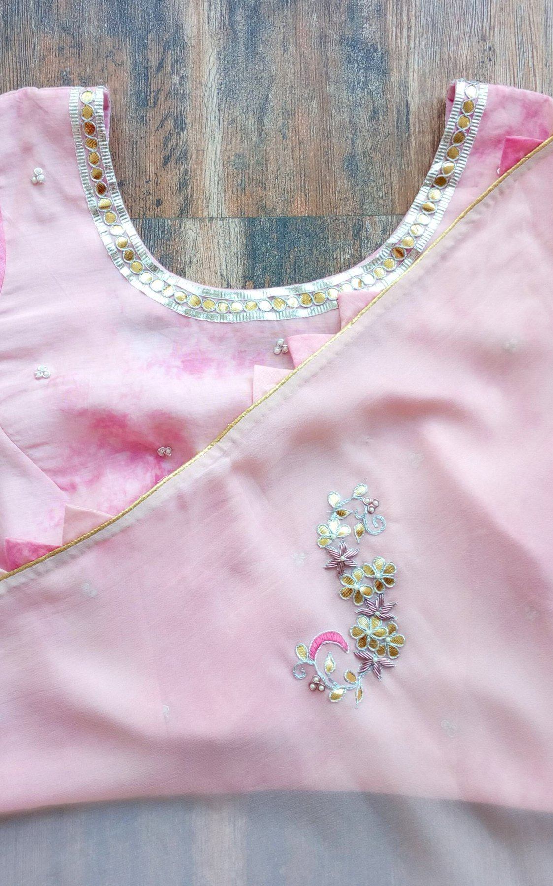 Light Pink Gota Patti Saree