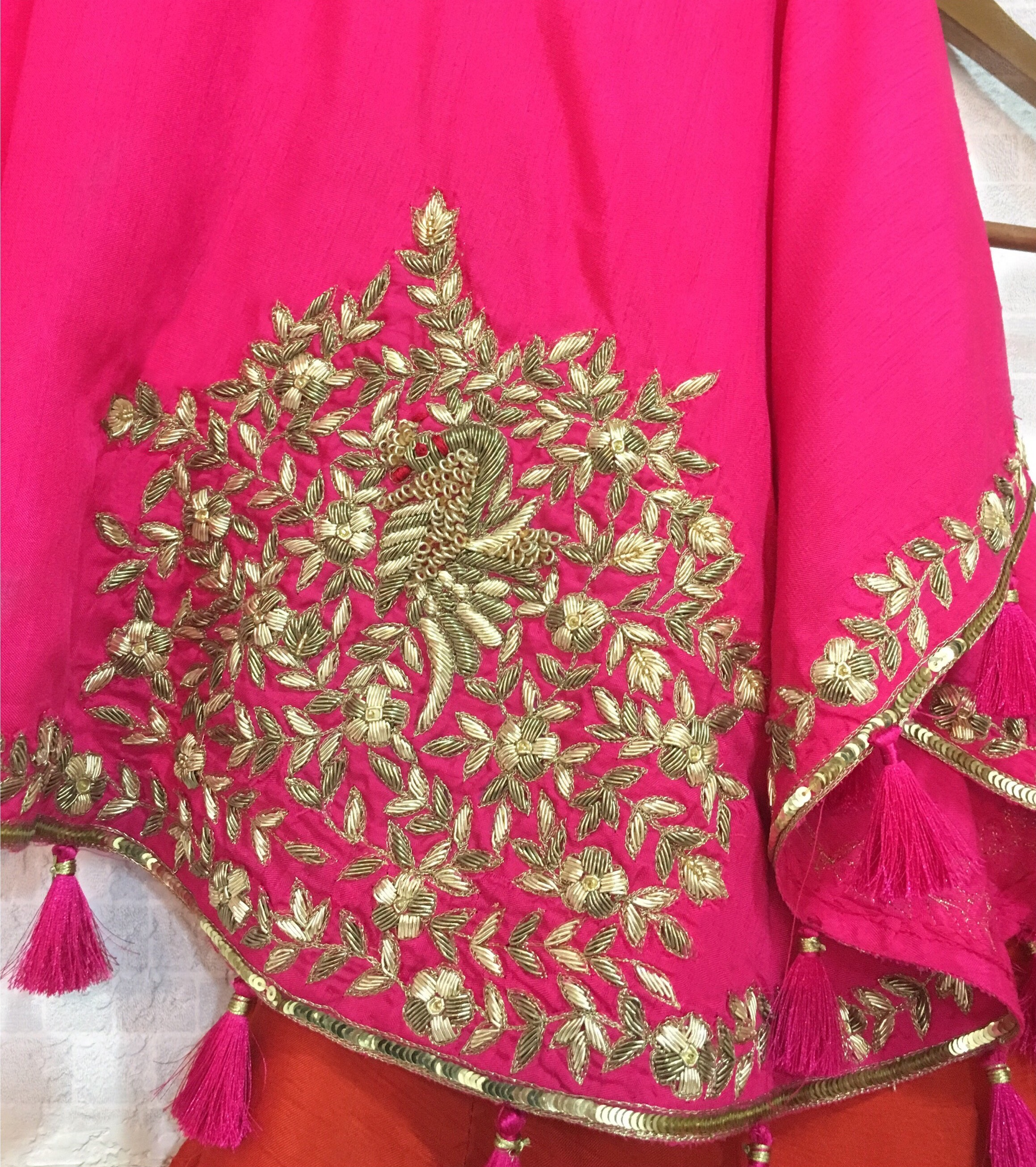 One Shoulder Pink Red Silk Lehenga