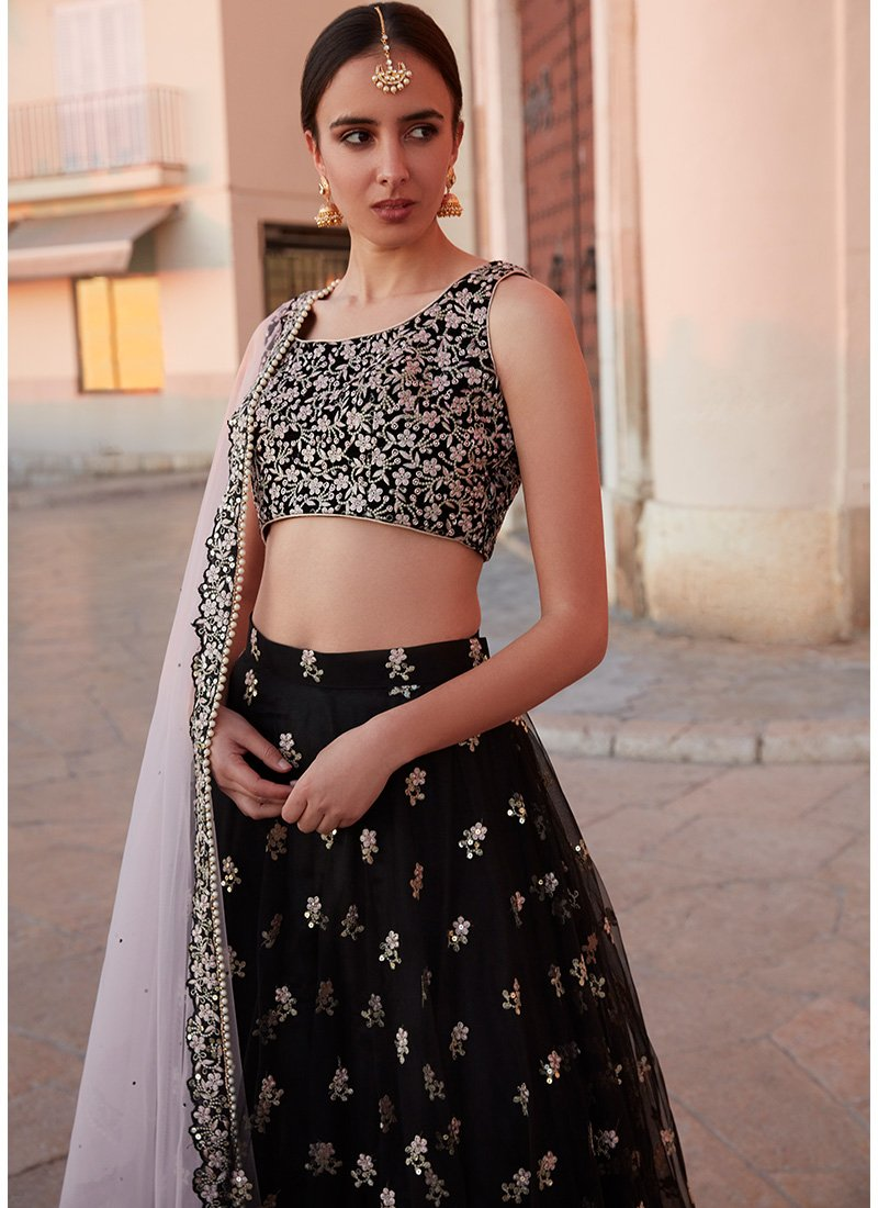 Black Net Lehenga With Pink Dupatta
