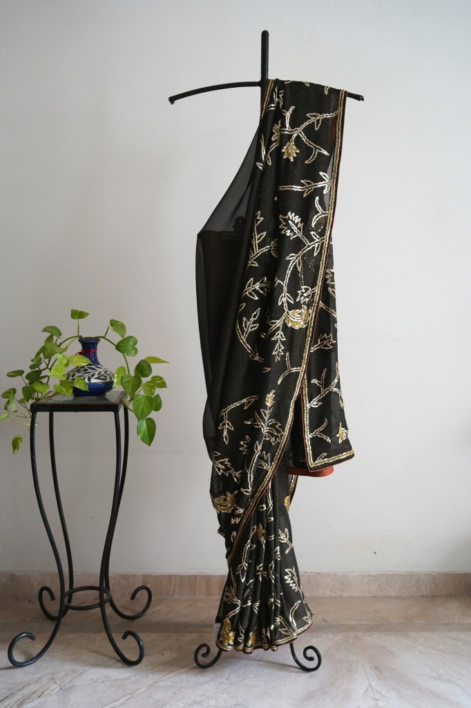 Black Shimmer Gold Saree