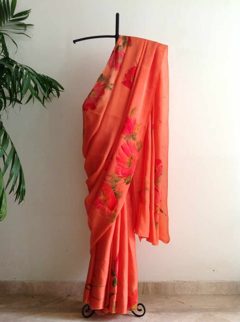Orange Floral Saree