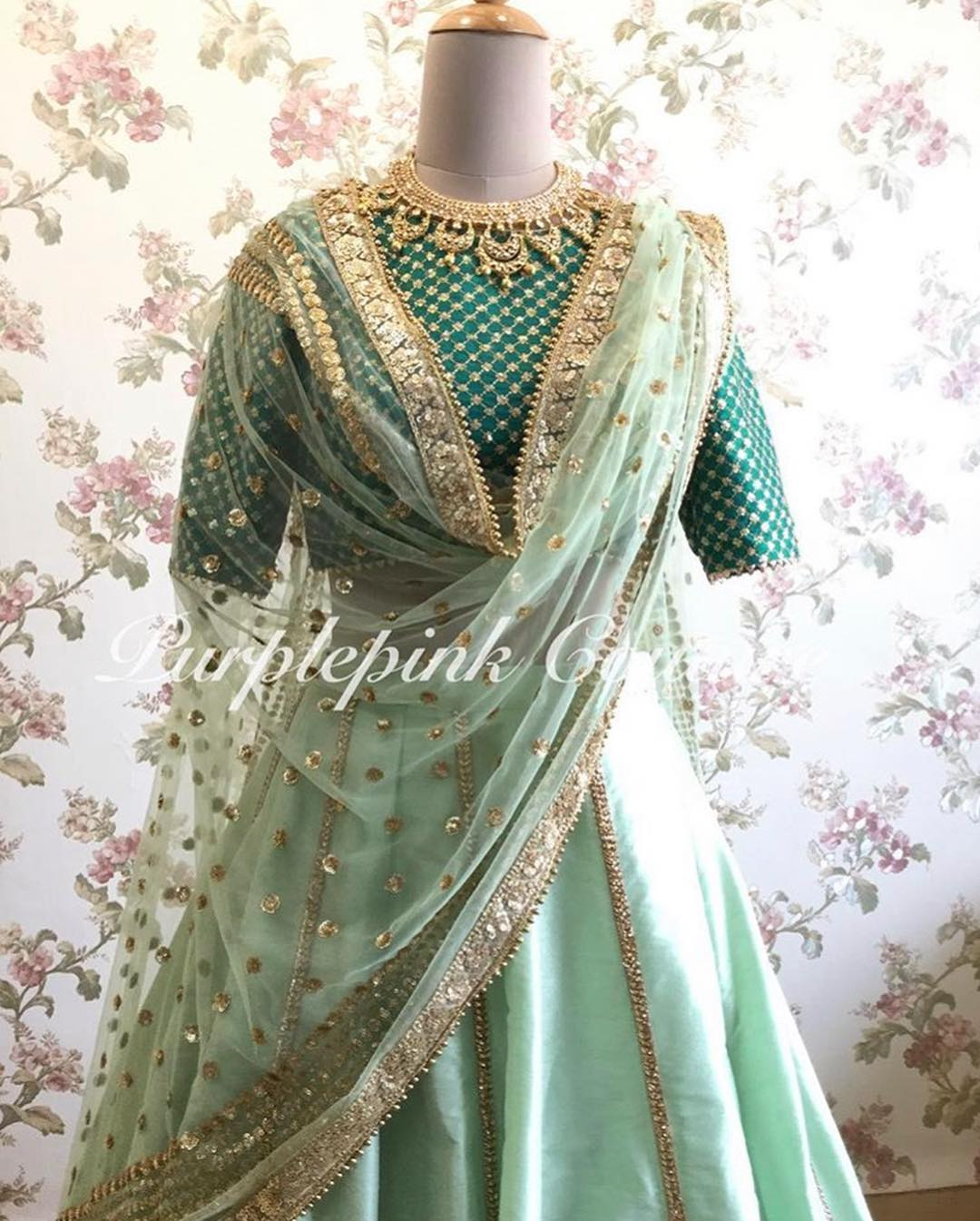 Mint Green Raw Silk Lehenga
