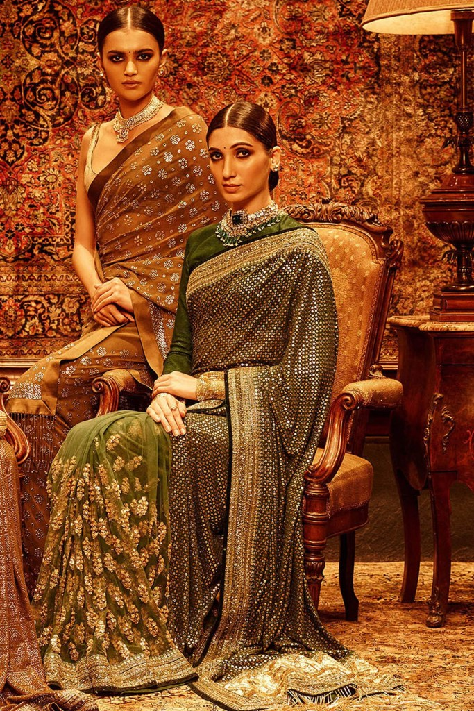green Sabyasachi mukaish saree