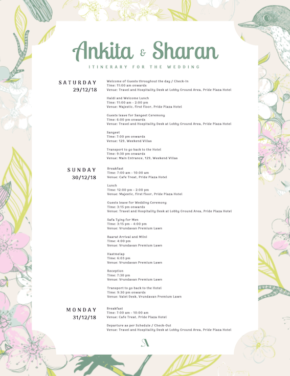 Ankita and Sharan Wedding itinerary