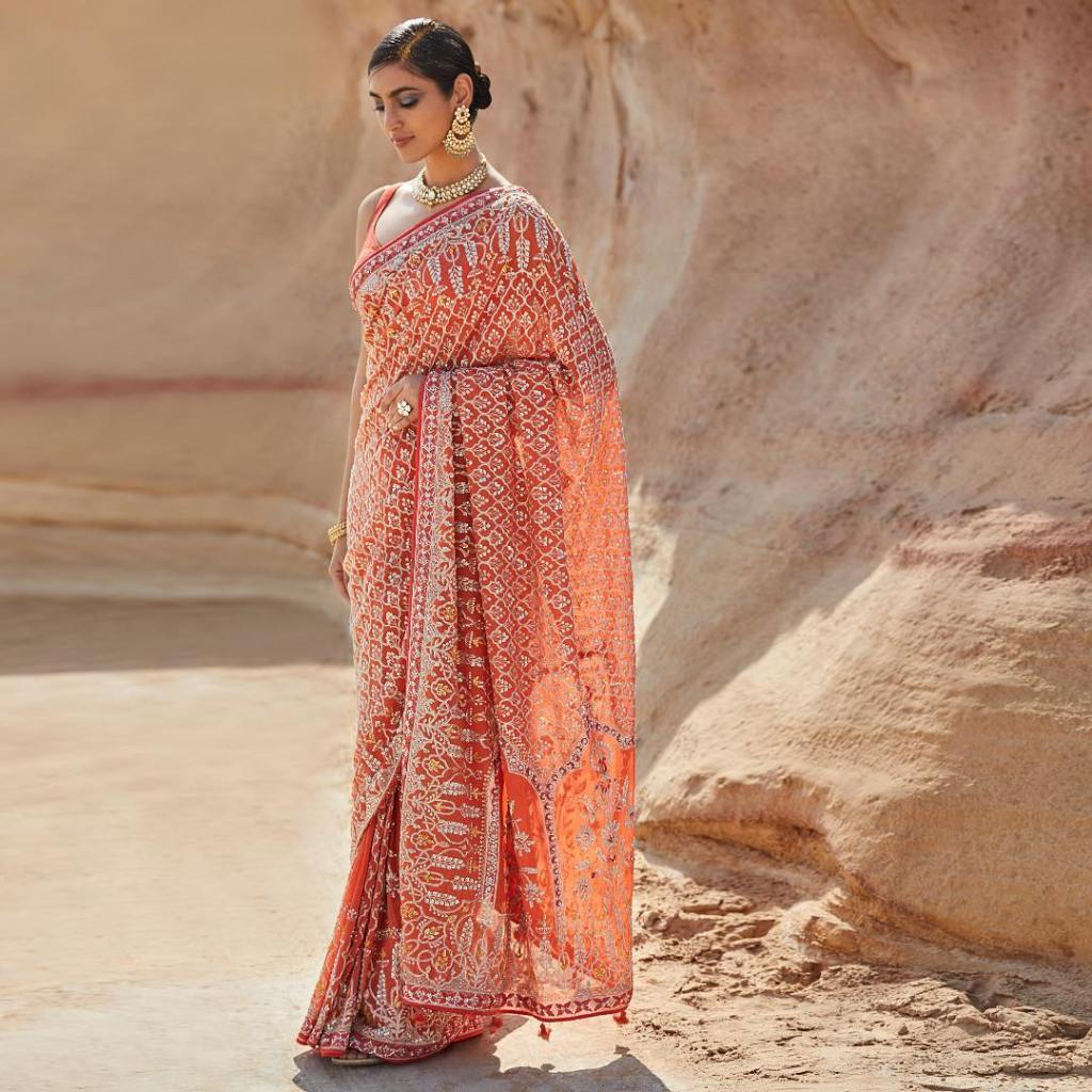 Bright Orange Anita Dongre Georgette Saree