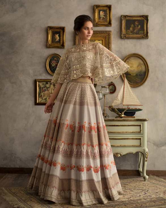 Gold Lehenga Skirt With Cape
