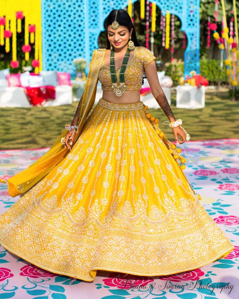 Asiana Couture Yellow Mehendi Lehenga