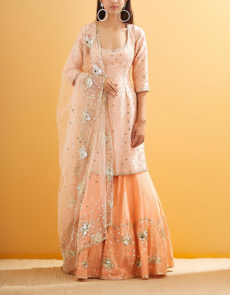 Beige with Pink Raw Silk with Net Mirror and Sequin Embroidered Kurta